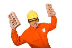 The man in orange coveralls on white Stock Photos