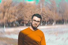 Man in Orange Crew-neck Top Royalty Free Stock Photography