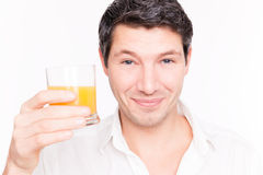 Man orange juice Stock Images