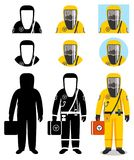 Industry concept. Illustration of worker in protective suit. Protection from chemical, radioactive, dangerous, toxic. Man in orange protective suit in flat style Stock Photo