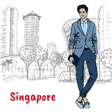 Man on Orchard Road in Singapore. Hand-drawn sketch man on Orchard Road in Singapore Royalty Free Stock Photography