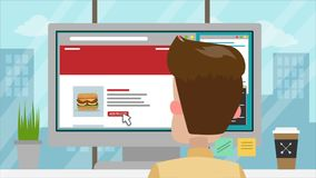 Man ordering food online. vector illustration