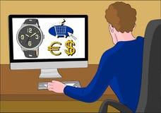 Man ordering online watch. Man ordering a watch online on an e-shop Stock Photos
