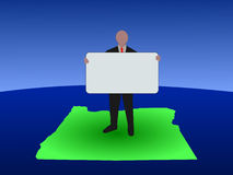 Man on Oregon map with sign Royalty Free Stock Images