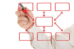 Man and organization chart on a white board Stock Photo