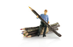 Man with original wooden pencil Royalty Free Stock Photography
