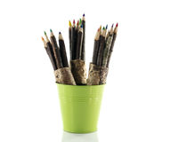 Man with original wooden pencil Stock Images