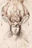 Man and ornamental crown, pencil sketch on paper. Stock Photo