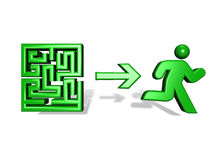 Man out of the maze. A male figure running out of a maze or labyrinth Royalty Free Stock Photography