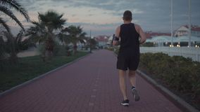 Man out on a run. Shot from behind of a athletic guy jogging in the evening, living active and healthy life. Man listening to music during run stock video footage