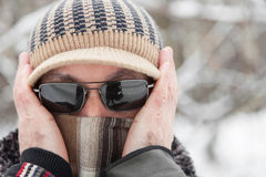 Man outdoors in winter day Stock Photo