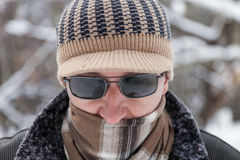 Man outdoors in winter day Stock Photos