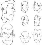 Man outline faces Stock Photography