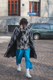 Man outside Alberto Zambelli fashion show building for Milan Wom Royalty Free Stock Images