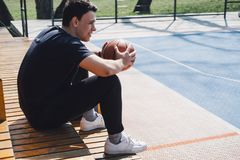 Man on the outside basketball court royalty free stock images