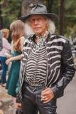 Man outside Costume National fashion shows building for Milan Women's Fashion Week 2014 Stock Photo