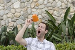 No more coffee. Man shocked he drank all his coffee! Stock Photos