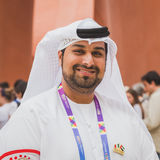 Man outside United Arab Emirates pavilion at Expo 2105 in Milan,. MILAN, ITALY - MAY 19: Man working for United Arab Emirates pavilion at Expo, universal Stock Photography