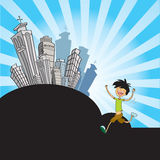 Man over cityscape Royalty Free Stock Images