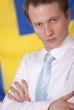 Man over sweden flag stock photos