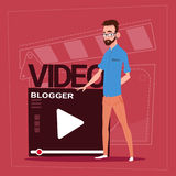 Man Over Vlogger Channel Screen Modern Video Blogger Vlog Creator. Flat Vector Illustration Royalty Free Stock Photos