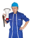 Man in overalls with megaphone Stock Photography