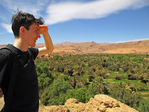 Man overlooking oasis. Young man overlooking a green oasis surrounded by desert stock photo