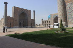 Man overlooking Registan, Uzbekistan Royalty Free Stock Photography