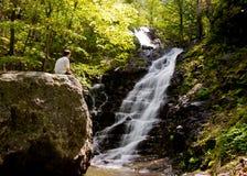 Man overlooks Overall Run waterfall stock image