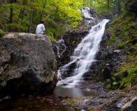 Man overlooks Overall Run waterfall stock photography