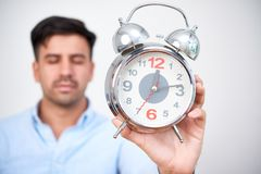 Man overslept his work royalty free stock photography