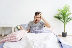 Man is overslept Stock Images