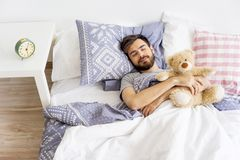 Man is overslept Royalty Free Stock Photo