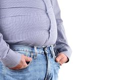 Free Man Overweight And Big Fat Belly Stock Photo - 113750170