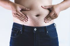 Man with overweight big fat belly chubby. Concept stock image