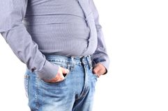 Man overweight and big fat belly. Man with overweight and big fat belly in jeans and shirt stock photos