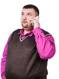 Man with overweight speaks on the phone Stock Image