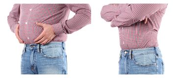 Man with overweight. Before and after weigh loss. Man Before and after weigh loss. Overweight fat belly royalty free stock images