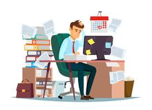 Man overwork in office vector illustration of cartoon manager sitting at computer desk working frustrated in stress Stock Photos