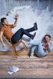 Man på att rasa stol Fotografering för Bildbyråer
