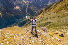 Man på berget Pirin Fotografering för Bildbyråer