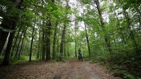 Man på bycicleritter förbi i skog lager videofilmer