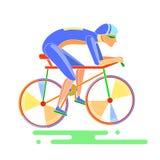 Man på en cykel Fotografering för Bildbyråer