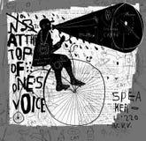 Man på en cykel royaltyfri illustrationer