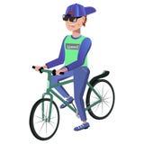 Man på en cykel Arkivbilder