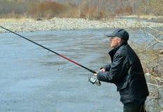 Man på fiske 2 Arkivbild