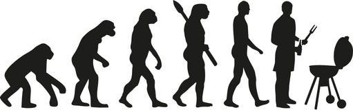Man på gallret - bbq-evolution stock illustrationer