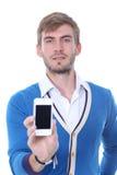 Man på hans mobiltelefon Royaltyfri Fotografi