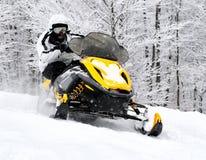 Man på snowmobile arkivfoton