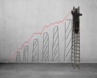 Man på stegeteckningen som växer röd trend arkivbild